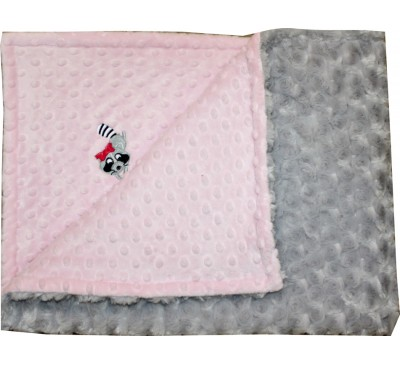 Baby Pink Dot/Silver Grey Rosebud Swirl Blanket with RACCOON