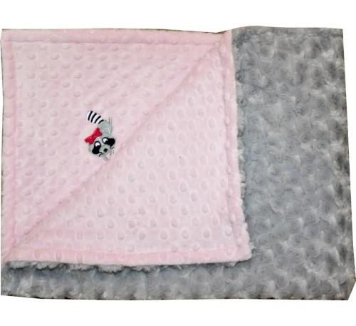 Baby Pink Dot/Silver Grey Rosebud Swirl Blanket with RACCOON