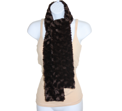 Minky Rosebud Swirl Scarf - Chocolate Brown