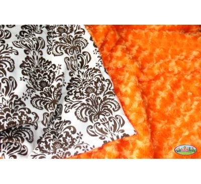Cream & Brown Damask Print/Orange Rosebud Swirl (Can Be Personalized)