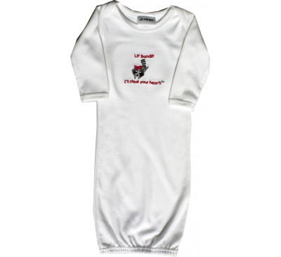 Raccoon Long-Sleeve White Sleeping Gown