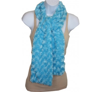 Minky Rosebud Swirl Scarf - Turquoise Blue