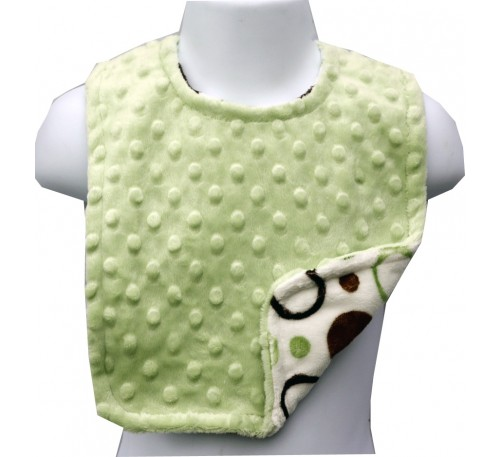 Green and Brown Circles/Sage Green Minky Dot Bib