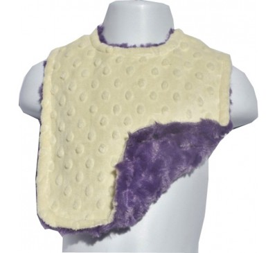 Baby Yellow Minky Dot/Bright Purple Swirl Bib