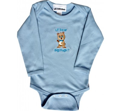 Boy Bear Long-Sleeve Blue Onesie