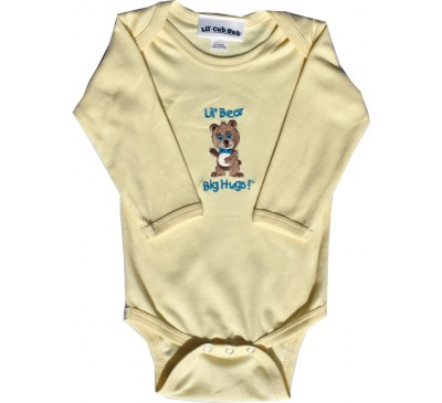 Boy Bear Long-Sleeve Yellow Onesie