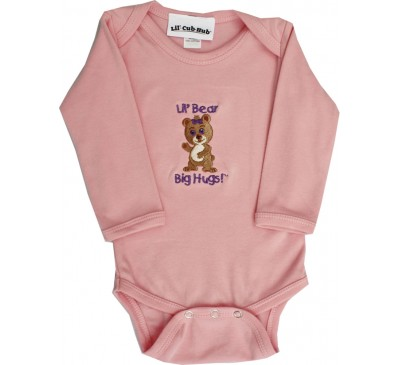 Girl Bear Long-Sleeve Pink Onesie