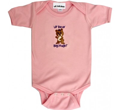 Girl Bear Short-Sleeve Pink Onesie