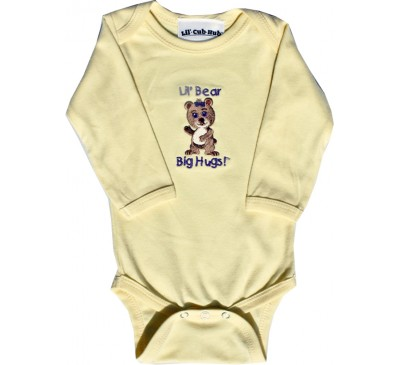 Girl Bear Long-Sleeve Yellow Onesie