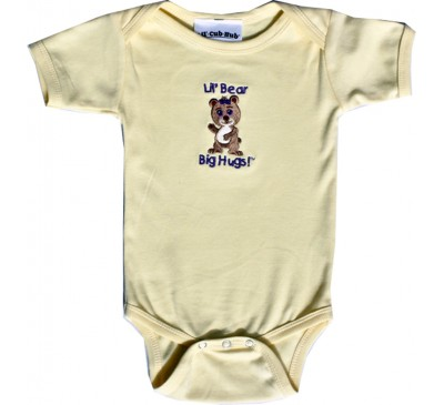 Girl Bear Short-Sleeve Yellow Onesie
