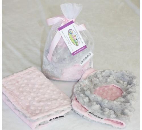 Baby Gift Set, Baby Shower Gift Set, Reversible & Adjustable Baby, Toddler Minky Bib and Burp Cloth, Pink Dot, Silver Grey Rosebud