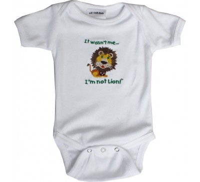 Lion Short-Sleeve White Onesie