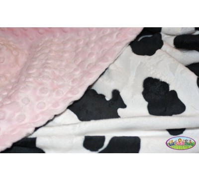 Black and White Cow Print/Baby Pink Dot (Can Be Personalized)