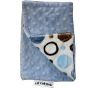 Blue and Brown Circles/Baby Blue Minky Dot Burp Cloth