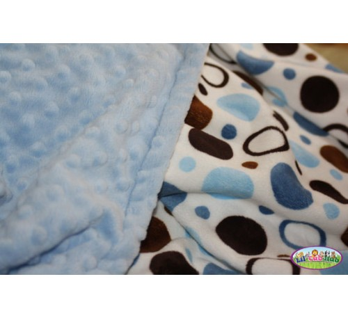 Blue and Brown Circles Print/Baby Blue Dot Blanket (Can Be Personalized)