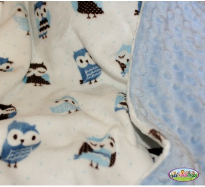 Blue and Chocolate Brown Owl Print/Baby Blue Dot (Can Be Personalized)