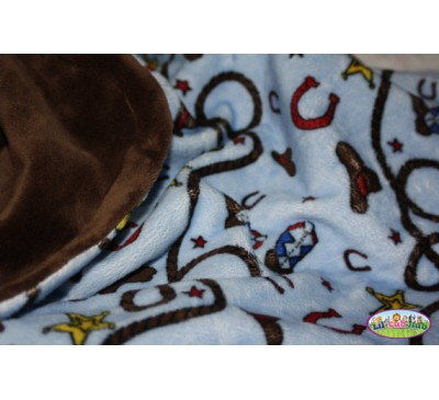 Blue Western/Cowboy/Rodeo Print/Chocolate Brown Smooth (Can Be Personalized)
