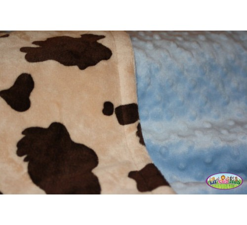 Cream and Brown Cow Print/Baby Blue Dot (Can Be Personalized)