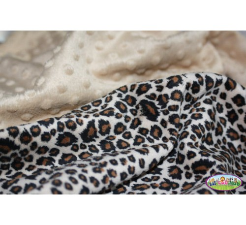 Brown, Black, and Cream Cheetah Print/Camel Beige Dot (Can Be Personalized)