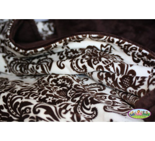 Cream and Brown Damask Print/Chocolate Brown Smooth (Can Be Personalized)