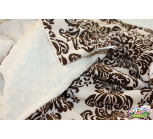 Brown and Cream Damask Print/Cream Dot (Can Be Personalized)