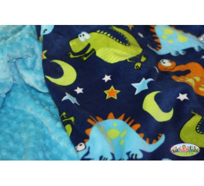Cartoon Dinosaurs on Navy Blue Print/Turquoise Dot (Can Be Personalized)