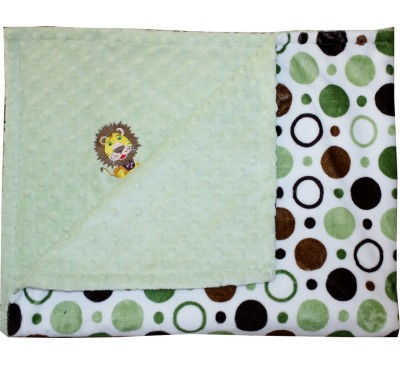 Green and Brown Circles/Sage Green Minky Dot Blanket with LION