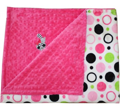 Hot Pink Circles/Hot Pink Minky Dot Blanket with RACCOON