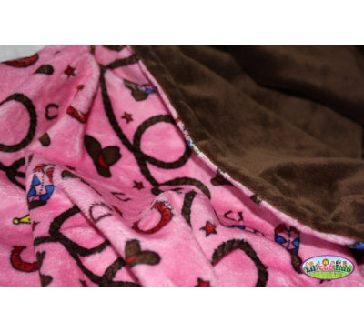 Pink Western/Cowgirl/Rodeo Print/Chocolate Brown Smooth (Can Be Personalized)