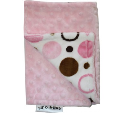 Pink and Brown Circles/Baby Pink Minky Dot Burp Cloth