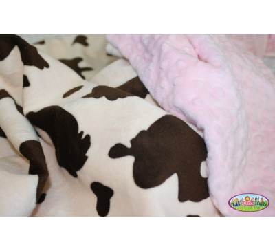 Cream and Brown Cow Print/Baby Pink Dot (Can Be Personalized)