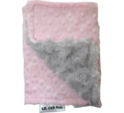 Baby Pink Minky Dot/Silver Grey Swirl Burp Cloth