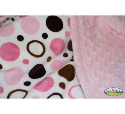 Bubble Gum Pink, Baby Pink, Brown and Chocolate Brown Circle Print/Baby Pink Dot (Can Be Personalized)