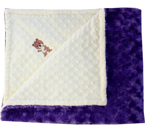 Baby Yellow Minky Dot/Bright Purple Swirl Blanket with GIRL BEAR