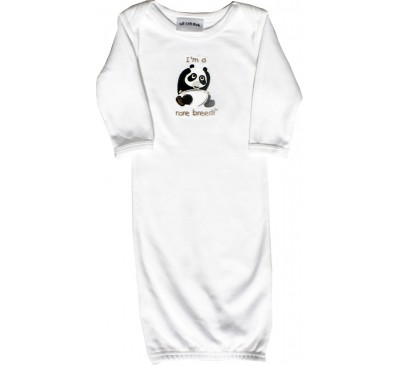 Panda Long-Sleeve White Sleeping Gown