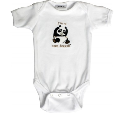 Panda Short-Sleeve White Onesie