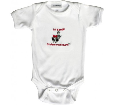 Raccoon Short-Sleeve White Onesie